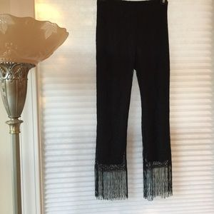 Vintage 90's Lace Pants with Fringe Bottoms